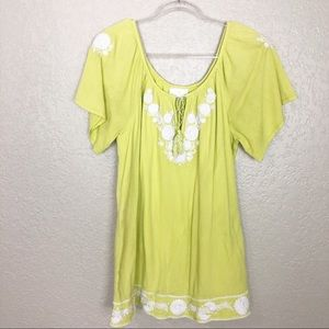 EUC Soft Surrounding Lime Embroidered tunic top